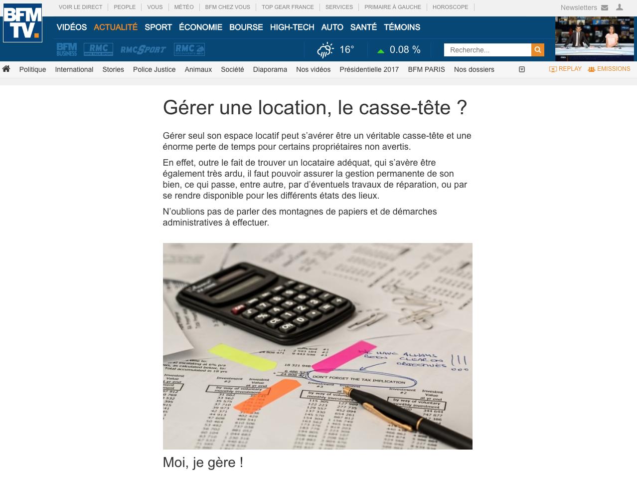 Article BFMTV La gestion locative en ligne